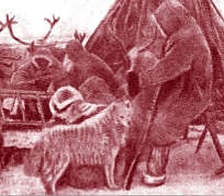 Early picture of Nganasan with dog